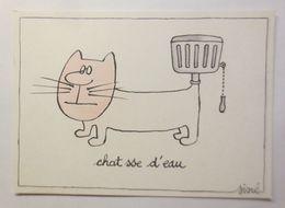 Humorkarte,  Sine, Chat Sse D'eau, 1979 ♥   - Humour