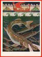 Bilibin 1962 Bylina Volga Brochet Esturgeon Crucian Poisson Poisson Navire Voile Voile Slaves - Segelboote