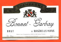 étiquette De Champagne Brut Bonnet Garbay à Bergères Les Vertus - 75 Cl - Champagne