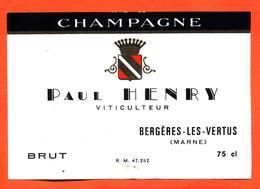 étiquette De Champagne Brut Paul Henry à Bergères Les Vertus - 75 Cl - Champagne