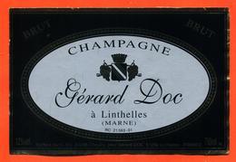 étiquette De Champagne Brut Gérard Doc à Linthelles - 75 Cl - Champagne