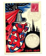 Carte Cachet Luxembourg Retour Cendres Jean L'aveugle 1946 - Marcofilie - EMA (Print Machine)