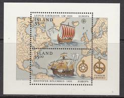 1992 Iceland  Columbus Explorer Ships Europa Souvenir Sheet MNH - Christopher Columbus