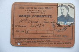Carte D'identite Pour Les Usines Renault Boulogne Billancourt 1923 - Documents Historiques