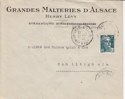 Env Affr Y&T 713 Obl STRASBOURG PL DE LA GARE Du 21.11.45 Adressée à Schiltigheim - Postmark Collection (Covers)