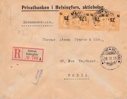 Env Recommandé T.P. Ob Helsinki 26 II 21, Env Pour Paris - Briefe U. Dokumente