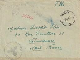 Belguique - Lettre De La Zitadelle De Huy Datée Du 29 12 1942 Pour Le Nord De La France, D Un Prisonnier Civil - Lettres