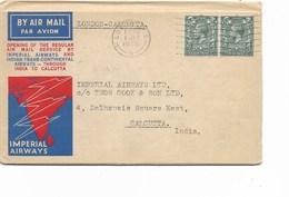 "Le 0507. Lettre AVION ""Imperial Airways"" - Vol LONDON-CALCUTTA - 1 JLY 1933 V. Calcutta. Arr 9 JUL Au Dos. TB - 1902-1951 (Kings)"
