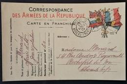 Carte De Franchise Militaire Oblitération POSTES BUREAU FRONTIERE C ( Creil ) Du 13 Août 15 Vers Rochefort - Marcophilie (Lettres)