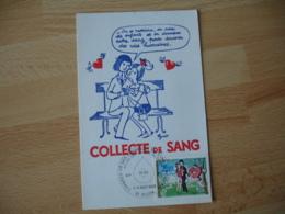 Carte Illustrateur Peynet Collecte De Sang  Obliteration Timbre Peynet - Dijon