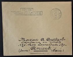 Enveloppe En Franchise Militaire Oblitération POSTES BUREAU FRONTIERE C ( Creil ) Du 26 Déc 14 Vers Amiens - Marcophilie (Lettres)