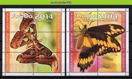 Nfh0770 FAUNA VLINDERS ATLASVLINDER BUTTERFLIES MOTHS PAPILIO SCHMETTERLINGE MARIPOSAS PAPILLONS ARUBA 2014 PF/MNH - Papillons