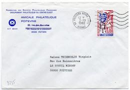France N° 2235 Y. Et T. Vienne Poitiers Notre Dame Flamme Ondulée Du 02/10/1982 Sur Lettre - Marcophilie (Lettres)