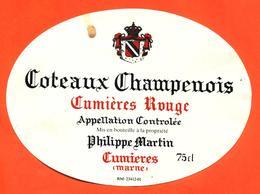 étiquette De Coteaux Champenois Cumières Rouge Philippe Martin à Cumières - 75 Cl - Champagne