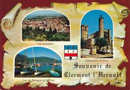 34  CLERMONT L' HERAULT  -   3  VUES SUR PARCHEMIN - BLASON - Clermont L'Hérault