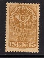 AUSTRIA ÖSTERREICH 1919 1920 POST HORN 15h MLH - Nuovi