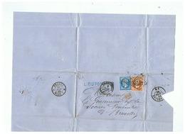 LETTRE L. DUPONT & Cie à VALENCIENNES & à DOUAI (NORD) Pour BRUXELLES 1866 - Marcophilie (Lettres)