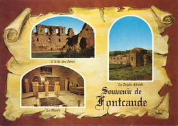 34  CAZEDARNE / ABBAYE DE FONTCAUDE XII ème Siècle  - 3  VUES SUR PARCHEMIN - - France
