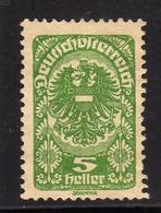 AUSTRIA ÖSTERREICH 1919 1920 COAT OF ARMS STEMMA ARMOIRIES 5h MH - Nuovi