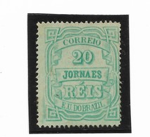 BRAZIL YEAR 1890 20R JORNAES E.U. DO BRAZIL GREEN MINT LIGHTLY HINGED SCOTT P20 MI 95 F/ VF - Neufs