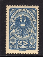 AUSTRIA ÖSTERREICH 1919 1920 COAT OF ARMS STEMMA ARMOIRIES 25h MH - Nuovi