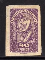 AUSTRIA ÖSTERREICH 1919 1920 IMPERF. ALLEGORY OF NEW REPUBLIC 40h MH - Nuovi