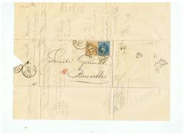 LETTRE LEGRELLE FUGNIEZ à ARRAS (P D C ) Pour BRUXELLES 1869 - Marcophilie (Lettres)