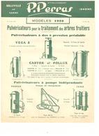 MANUFACTURE D'APPAREILS AGRICOLES ET VITICOLES-ETABLISSSEMENTS P. PERRAS -BELLEVILLE-SUR-SAONE  TARIFS N°643 -OCT. 1937 - Agriculture
