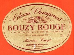 étiquette De Coteaux Champenois Bouzy Rouge Marceau Pouyet à Vaudemange - 75 Cl - Champagne