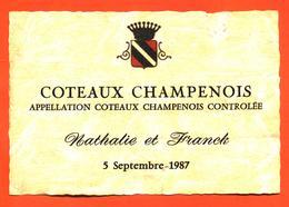 étiquette De Coteaux Champenois Mariage Nathalie Et Franck 5 Septembre 1987 - 75 Cl - Champagne