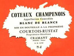 étiquette De Coteaux Champenois Blanc De Blancs Courtois Rustat à Cramant - 75 Cl - Champagne
