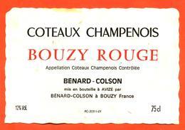 étiquette De Coteaux Champenois Bouzy Rouge 1989 Benard Colson à Bouzy - 75 Cl - Champagne
