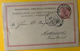 9998 -  Entier Postal Heilbronn 7.02.1887 Pour La France - Allemagne