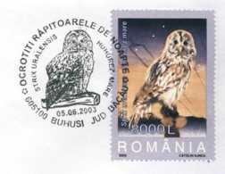 6240  Chouette De L'Oural: Timbre + Oblitération Concordante 2003 -  Ural Owl Special Cancel. Hibou - Owls