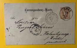 10003  - Entier Postal Graz 28.10.1884 Pour Valentigny Via Belfort Et Audincourt - Stamped Stationery