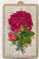 J58 - Carte à Système - Fleurs Roses Gaufrées Et Main Tenant Un Bouquet - Fleurs