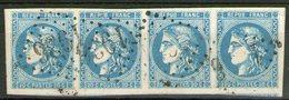 N°46B Oblitéré En Bande De 4, Grandes Marges (signé BRUN.CALVES.MIRO) ! - 1870 Ausgabe Bordeaux