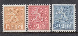 Finland 1956 - Wappenloewe, Mi-Nr. 458/60, MNH** - Finland