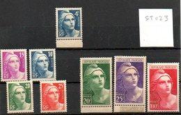 St023  Marianne Gandon Gravees 725-733 * - Unused Stamps