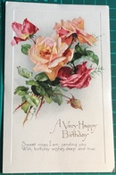 A Very Happy Birthday ~ Depicting Embossed Red Roses ~ Sweet Roses I Am Sending You With Birthday Wishes...... - Verjaardag