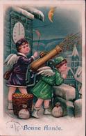 Bonne Année, Angelots Et Bombarde à Monnaie, Litho Gaufrée (164) Timbre Décollé - Nouvel An