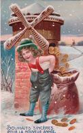 Bonne Année, Enfant, Moulin Et Sac De Monnaie, Litho Gaufrée (411) Timbre Décollé - Nouvel An