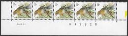 Buzin. 2426xx Zanglijster/Grive Musicienne. Datumstrook 16/09/91 Bande Datée. Diepdrukplaat Nr B47828 - Paar/pair - 1985-.. Birds (Buzin)