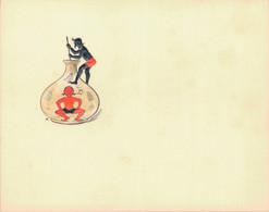 J59 - Carte De Visite - Diable Stylisé à La Bonbonne Et Au Chinois - Encre Rouge Et Noire En Ronde Bosse - Carte Vierge - Visitenkarten