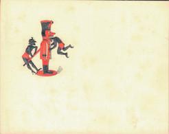 J59 - Carte De Visite - Diable Stylisé à L'automate Et Au Chinois - Encre Rouge Et Noire En Ronde Bosse - Carte Vierge - Visitenkarten