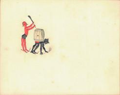 J59 - Carte De Visite - Diable Stylisé Au Tonneau Et Au Chinois - Encre Rouge Et Noire En Ronde Bosse - Carte Vierge - Visitenkarten