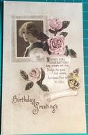 Birthday Greetings ~ Depicting Roses & Woman Photo By Claude Harris ~ Wishes For Your Birthday - Verjaardag