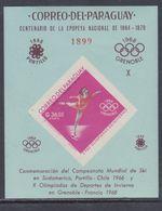 Paraguay BF N° 91a XX Jeux Olympiques De Grenoble, Le Bloc Non Dentelé Dentelé Sans Charnière, TB - Paraguay