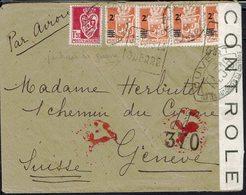 """Algérie -Guerre 39/45 -Affr. Armoirie 9,50 Fsur Env. D'Alger Pour Genève- Double Contrôle De Censure -Cachet """"Je Hais... - Algeria (1924-1962)"""