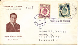 Colombia Cover Sent To Denmark Bogota 28-12-1959 One Of The Stamps Overprinted - Colombia